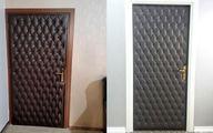 بازسازی درب چوبی قدیمی اتاق به درب چرمی آکوستیک