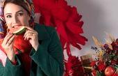 شبنم قلیخانی» درحال خوردن هندوانه شب چله