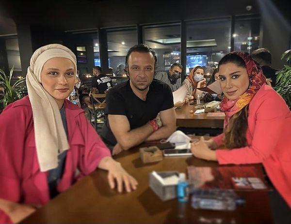 حسام منظور و خانم های بازیگر در رستوران + عکس