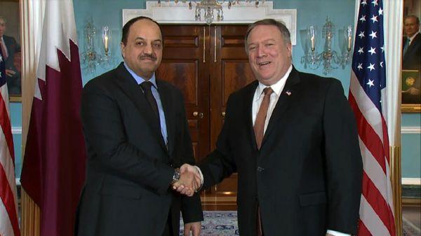 پمپئو با وزیر دفاع قطر دیدار کرد