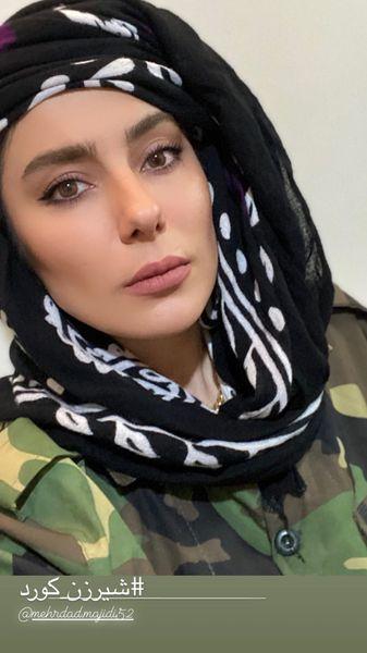 خانم بازیگر با لباس شیرزنان /عکس