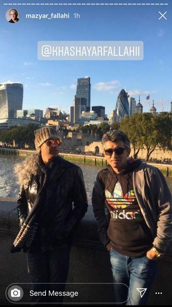 مازیار فلاحی و یکی از دوستانش در خارج از کشور + عکس