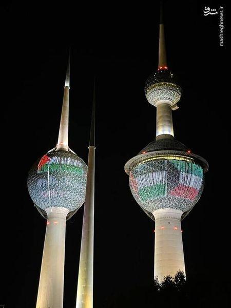 نقش بستن پرچم فلسطین روی برجهای کویت
