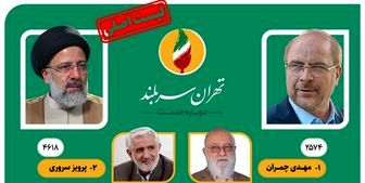 لیست اصلی شورای ائتلاف نیروهای انقلاب اسلامی  برای انتخابات شوراهای شهر تهران