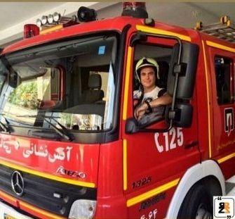 آقای بازیگر در پشت فرمو ماشین آتش نشانی + عکس