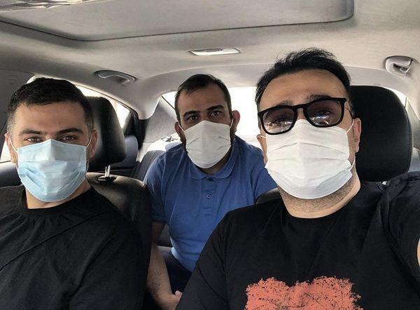 علی ضیا در ماشین بازیگر معروف + عکس