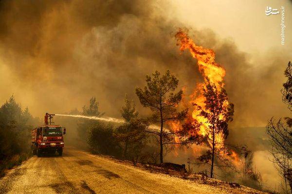 کمک هواپیمای آتشنشانان ایرانی برای خاموشی آتش سوزی ترکیه