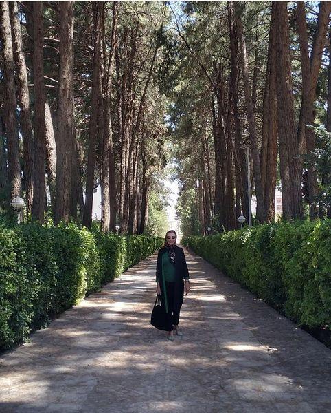 فدم زدن خانم بازیگر در جاده ای زیبا + عکس