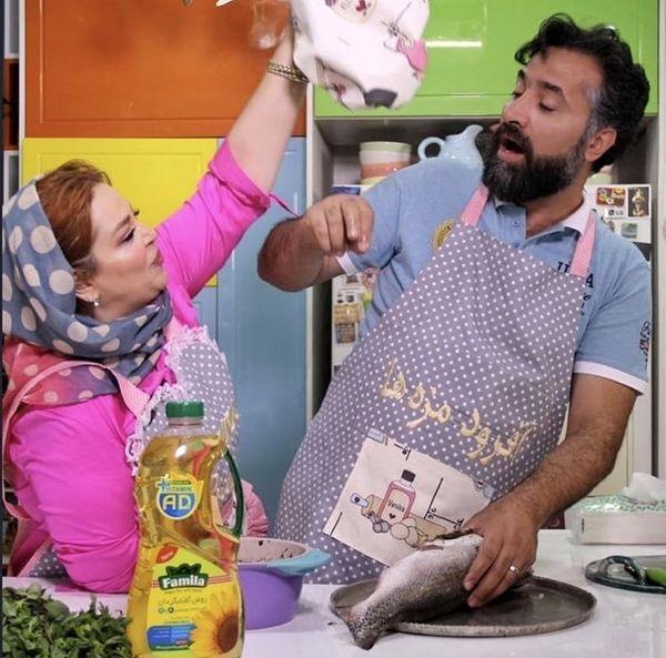 شیطنت های بهاره رهنما وهمسرش در هنگام آشپزی + عکس