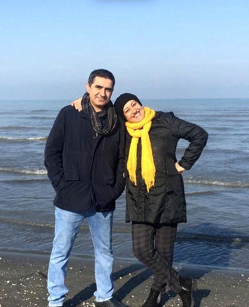 فاطمه هاشمی و همسرش در کنار دریا + عکس