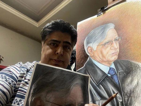 نقاشی زیبای رضا شفیعی جم از پدرش + عکس