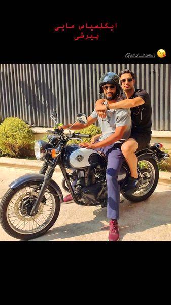 موتور سواری امیر جدیدی با دوستش + عکس