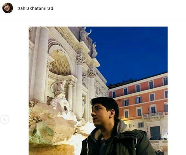 گشت و گذار پسر خانم مجری در خارج از کشور + عکس