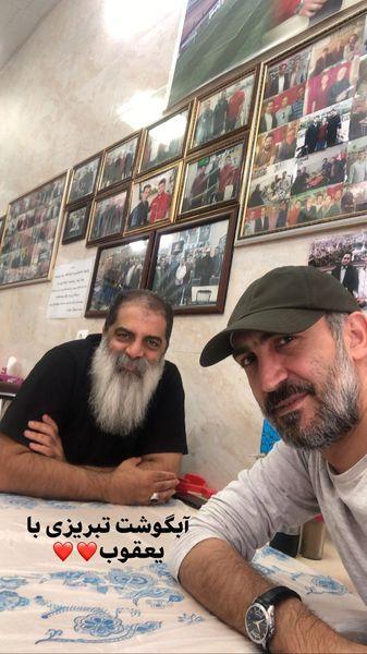 آبگوشت خوری هادی حجازی فر با دوستشدر رستوران + عکس
