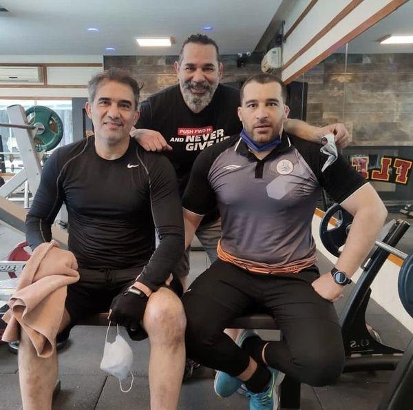 داریوش سلیمی و عابدزاده در باشگاه بدنسازی + عکس