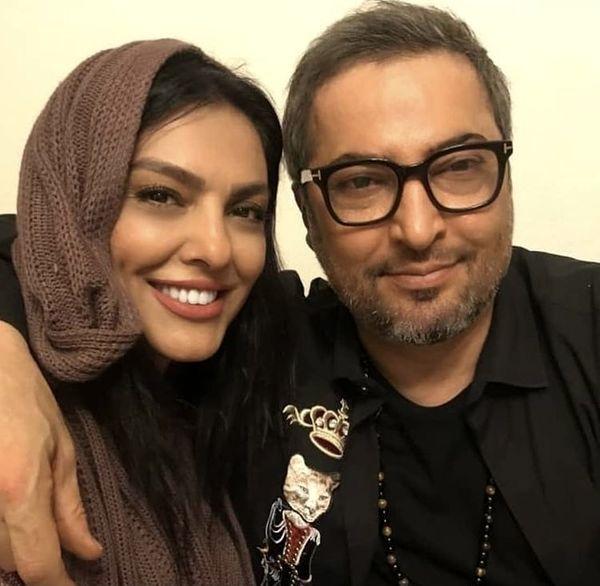 زنده یاد مهرداد میناوند و همسرش + عکس