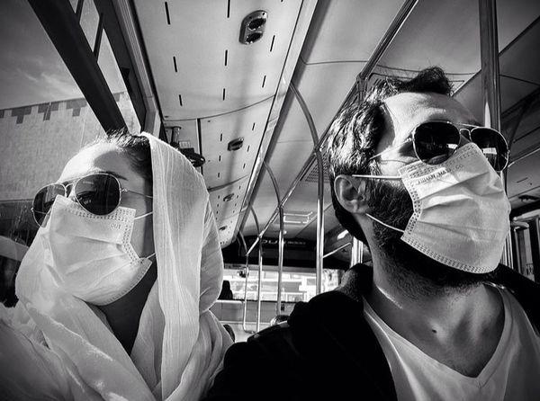 هادی کاظمی و سمانه پاکدل در اتوبوس + عکس