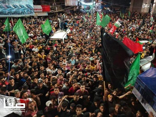 جشن فلسطینیان پس از اعلام آتش بس+تصاویر