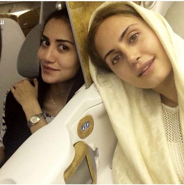 الناز شاکردوست وخواهرش در هواپیما + عکس