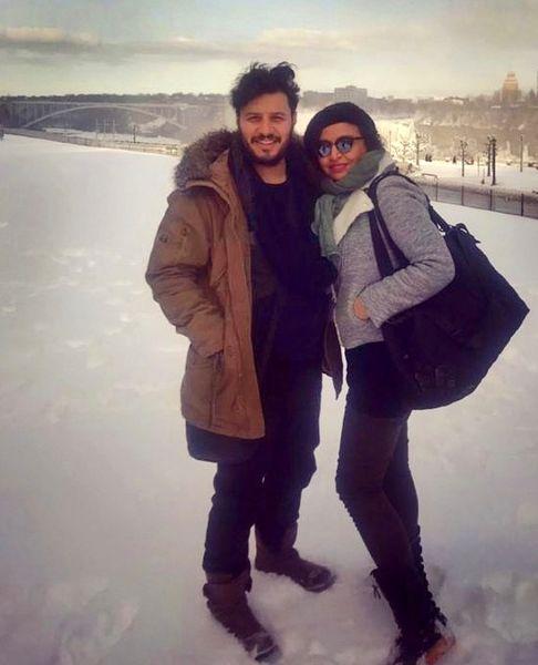 مه لقا باقری و جواد عزتی در برف + عکس