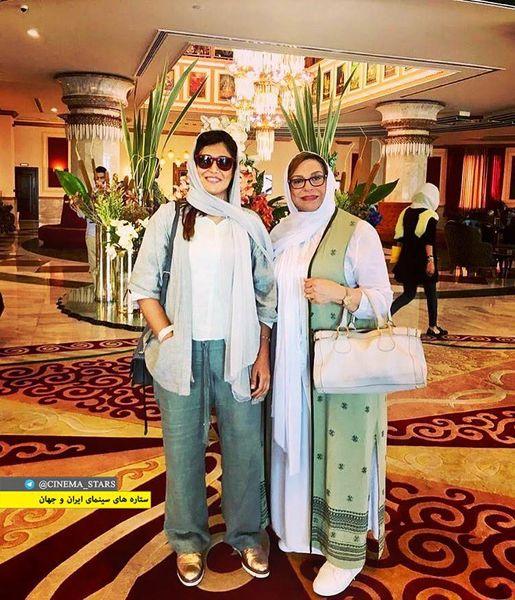 تیپ گردشگری گوهر خیراندیش و دخترش در هتل+عکس
