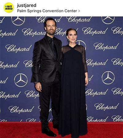 ناتالی پورتمن هنرپیشه معروف با همسرش
