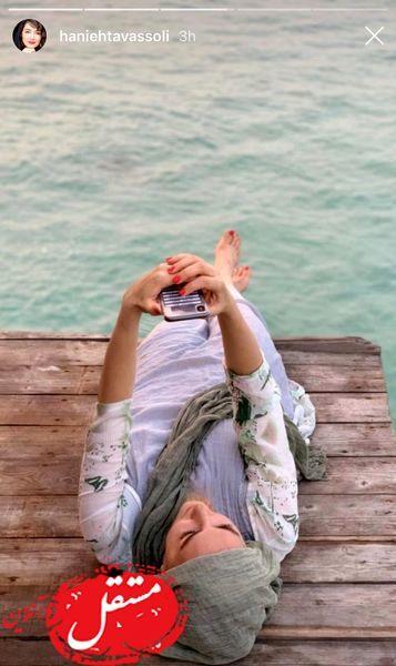 عکس هوایی هانیه توسلی لب دریا