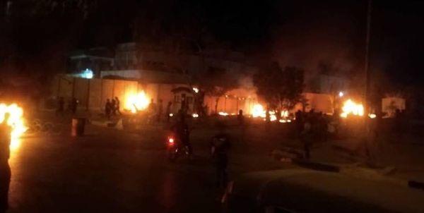 آتش زدن دیوار کنسولگری ایران در کربلا