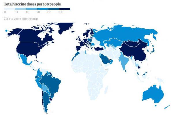 وضعیت واکسیناسیون کرونا در جهان + نقشه جهانی
