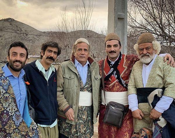 جمعی از آقایون بازیگر با لباس کردی + عکس
