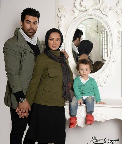 عکس آتلیه ای روناک یونسی به همراه پسر و همسرش