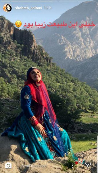 خانم بازیگر با لباس محلی در طبیعت زیبا + عکس