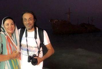 لاله اسکندری و برادرش در کنار کشتی یونانی+عکس