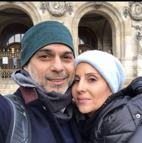 پیمان معادی و همسرش در آغوش هم + عکس