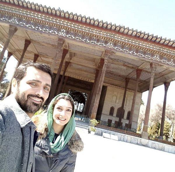 گشت و گذار الیکا عبدالرزاقی و همسرش + عکس