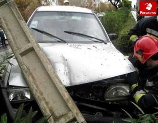 تیرچراغ برق، راننده خواب آلود پراید را به خواب ابدی برد