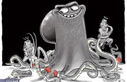 کاریکاتور: اینم غول فساد در تنگنای مبارزه!