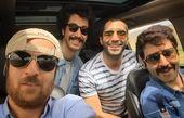 ماشین سواری هومن حاجی عبدالهی با رفقای بازیگرش+عکس