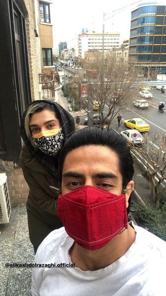 پوریا شکیبایی در کنار همسر بازیگر مشهور + عکس