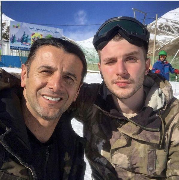 اسکی رفتن امین حیایی با پسرش + عکس