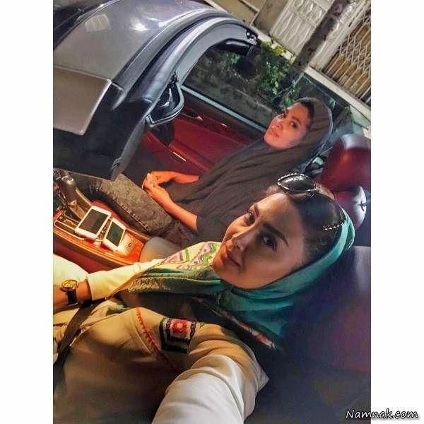 گردش مریم معصومی و خواهرش با ماشین لوکس+عکس