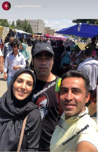 خانم بازیگر در بازار محلی + عکس
