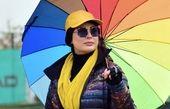 نیوشا ضیغمی در زیر چتری زیبا + عکس