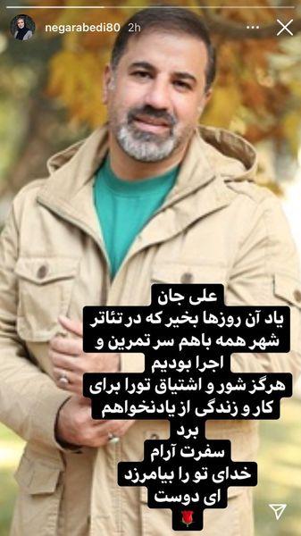 واکنش نگار عبادی به درگذشت علی سلیمانی + عکس