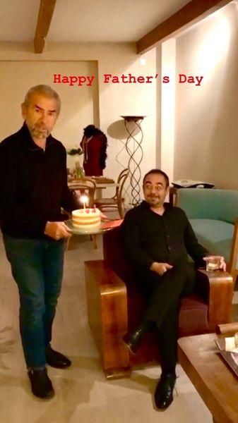 تبریک روز پدر سام قریبیان به پدرش + عکس