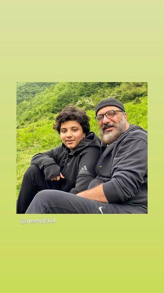 طبیعت گردی امیر جعفری و پسرش + عکس