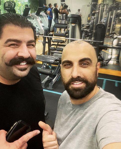 بهنام بانی و بازیگر مشهور در باشگاه بدنسازی + عکس