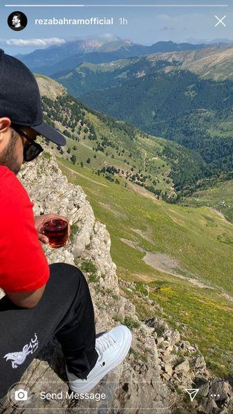 رضا بهرام در بالای قله کوه + عکس