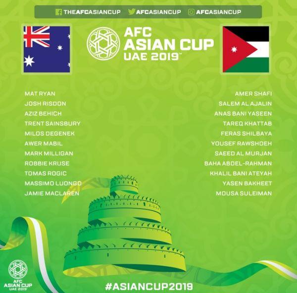 رونمایی از ۱۱ بازیکن استرالیا و اردن