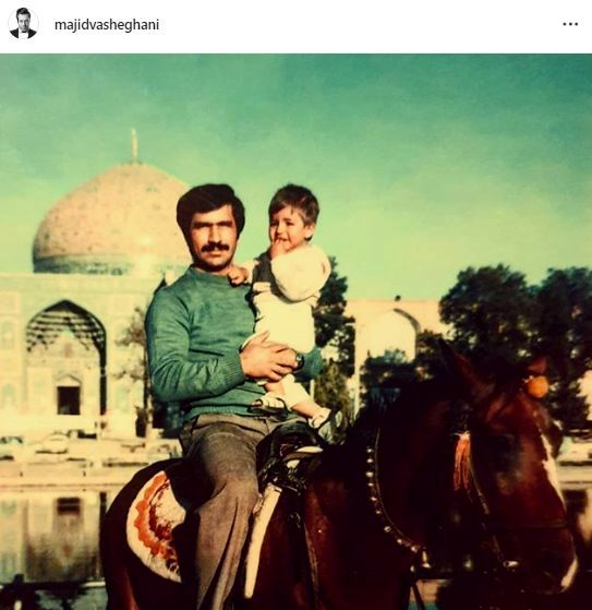 اسب سواری آقای بازیگر با پدرش در زمان قدیم + عکس